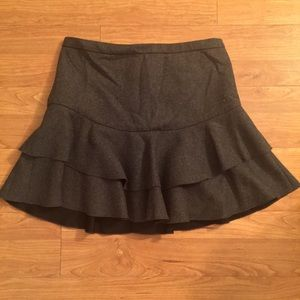 J Crew Charcoal Gray Tiered A-Line Skirt